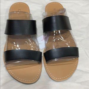 Black Slip On Sandals! NWT!